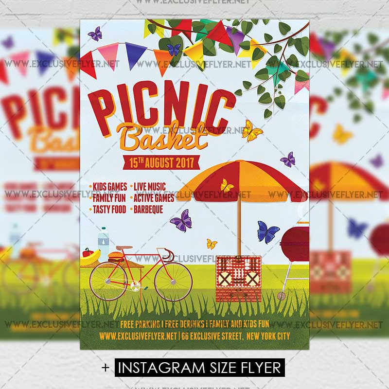 Picnic Basket Premium A5 Flyer Template Exclsiveflyer Free And