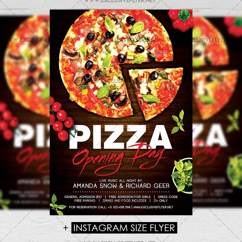 pizza opening day premium a5 flyer template exclsiveflyer free