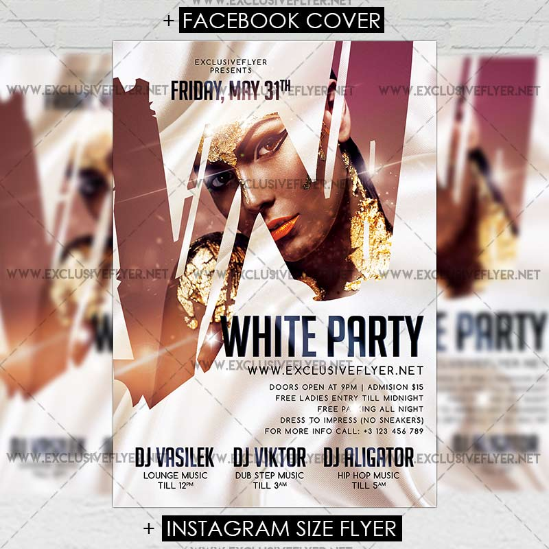 White Party Premium A5 Flyer Template Exclsiveflyer Free And