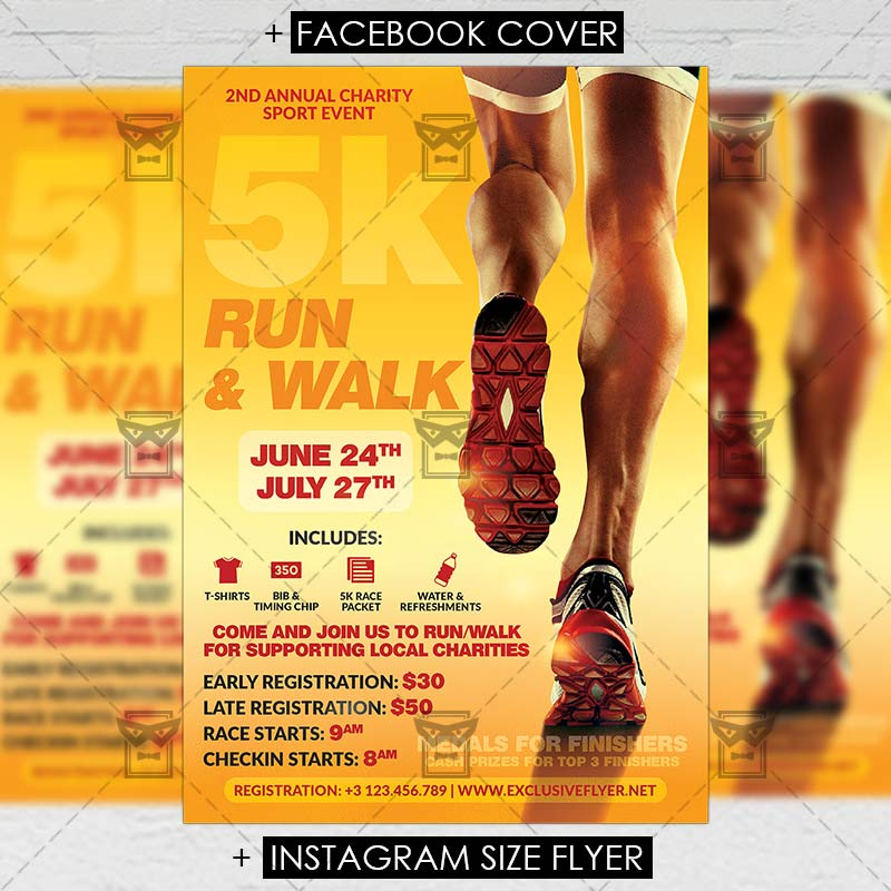 5k Marathon Premium A5 Flyer Template Exclsiveflyer Free And