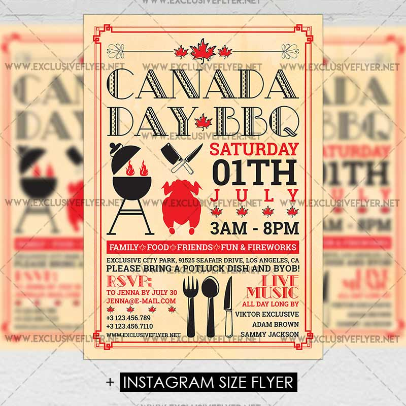 canada day bbq premium a5 flyer template exclsiveflyer free and premium psd templates. Black Bedroom Furniture Sets. Home Design Ideas