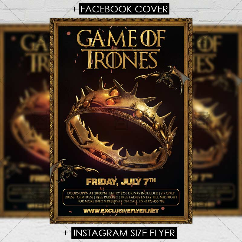 Game Of Thrones Night Premium A5 Flyer Template Exclsiveflyer