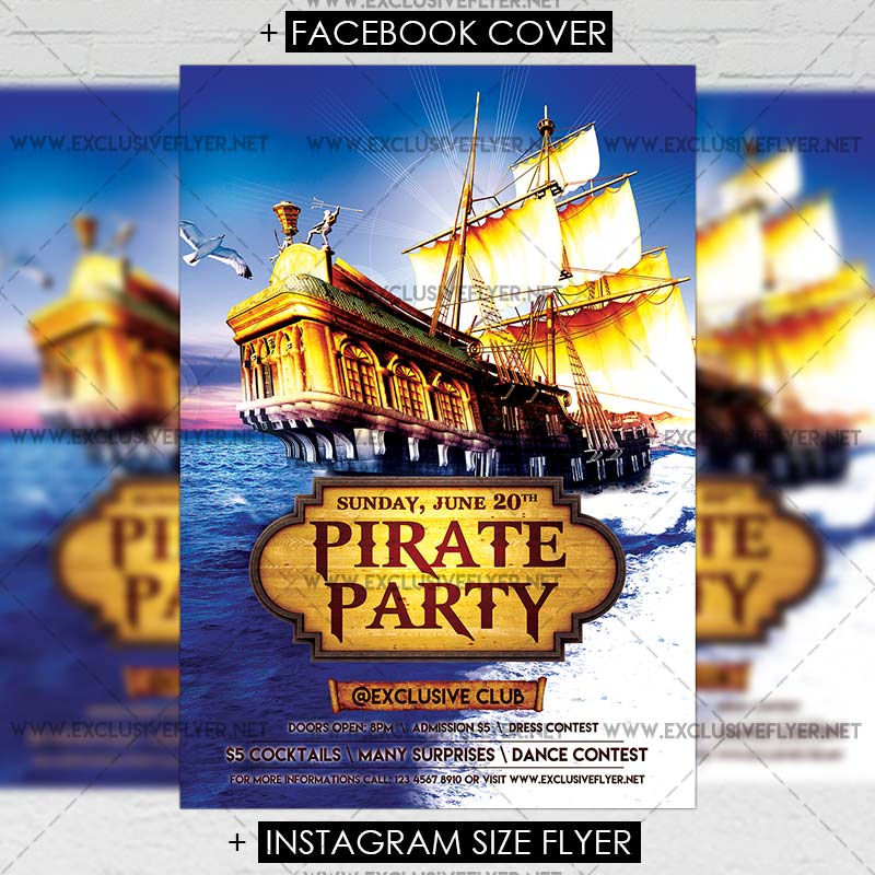 15 Excellent Flyer Templates For Your Next Event: Pirate Party €� Premium A5 Flyer Template
