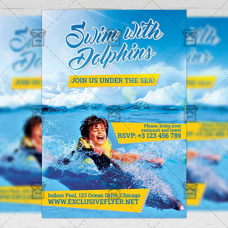 Swim With Dolphins Premium A5 Flyer Template Exclsiveflyer