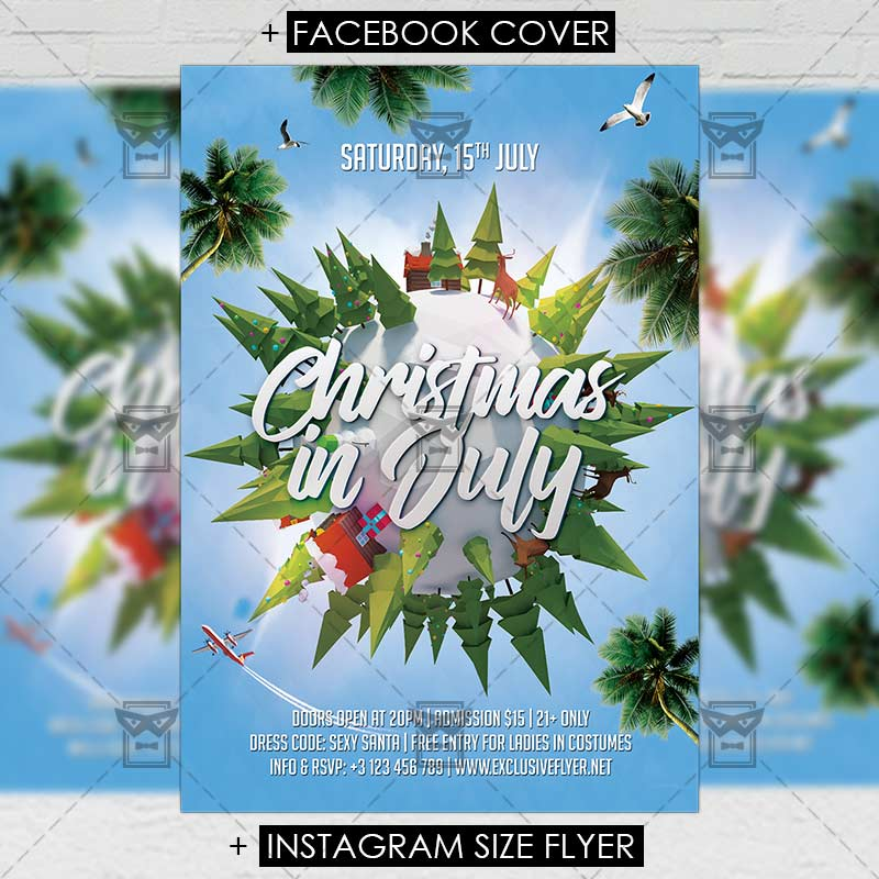Christmas in July Premium A5 Flyer Template ExclsiveFlyer Free