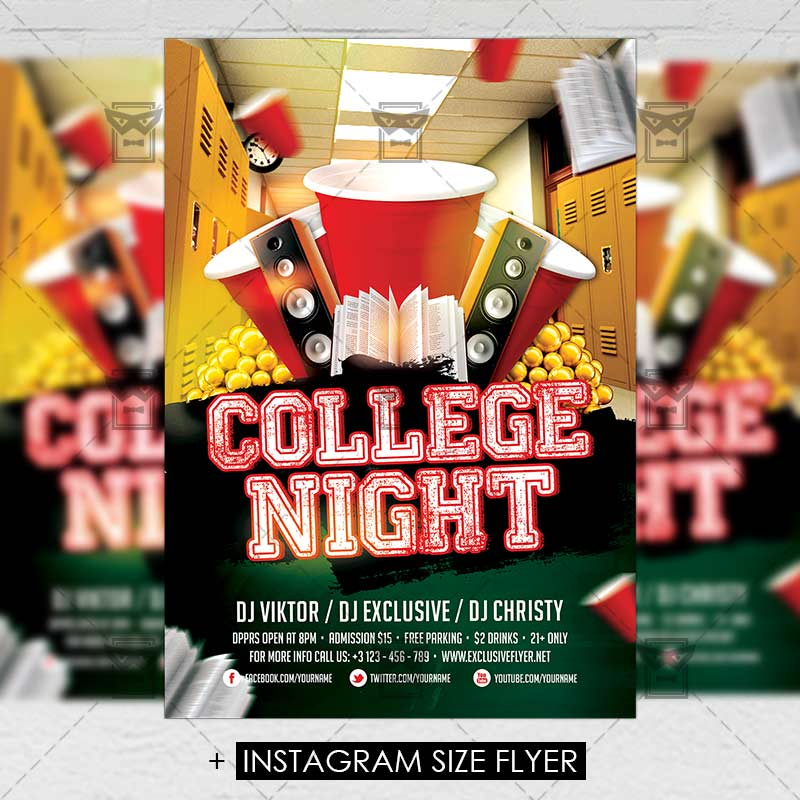college night premium a5 flyer template exclsiveflyer free and premium psd templates
