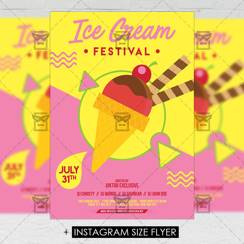 Ice Cream Festival Premium A5 Flyer Template Exclsiveflyer