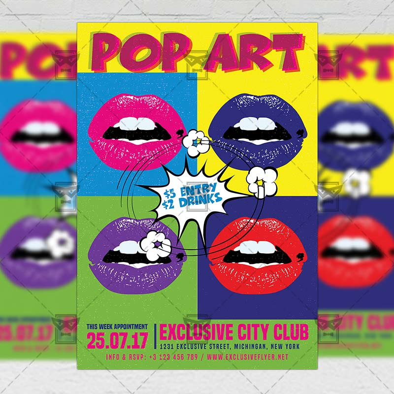 pop art party night premium a5 flyer template exclsiveflyer