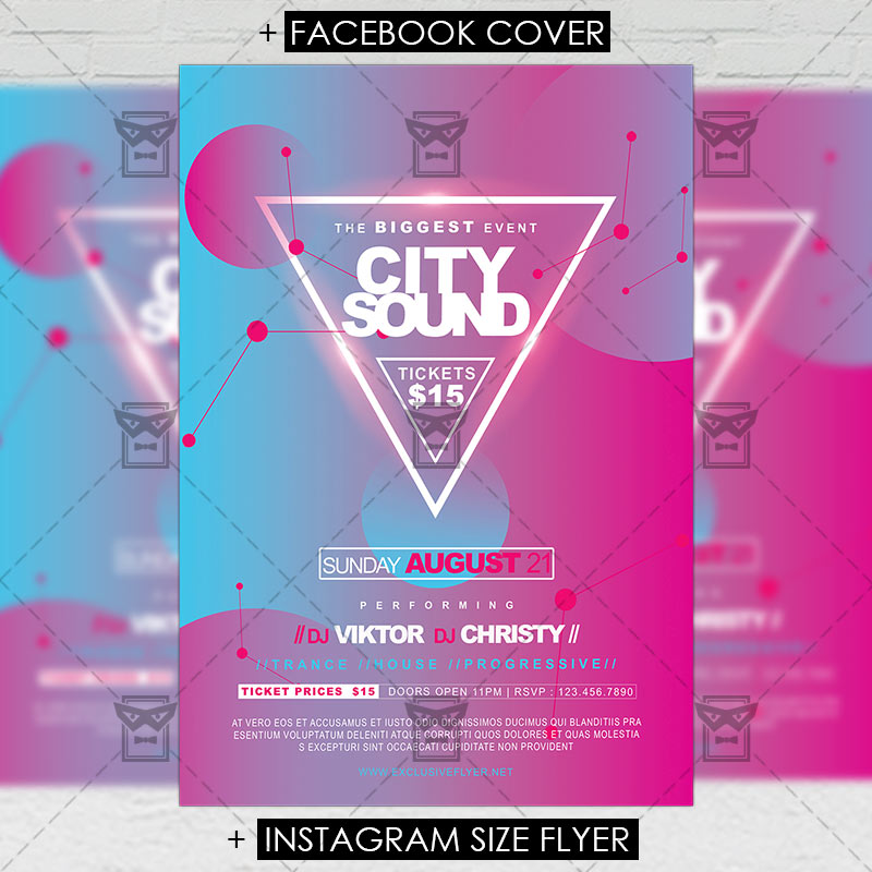 City Sounds Premium A5 Flyer Template Exclsiveflyer Free And
