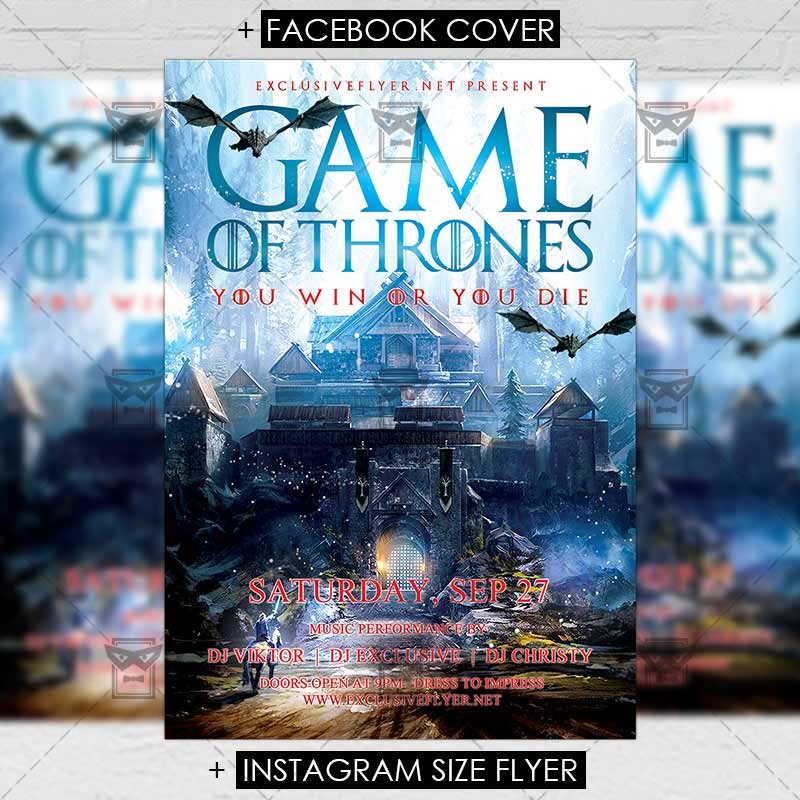 Game Of Thrones Night Club A5 Flyer Template Exclsiveflyer