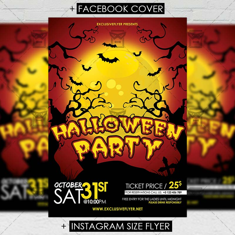 Halloween Party Seasonal A5 Flyer Template Exclsiveflyer Free