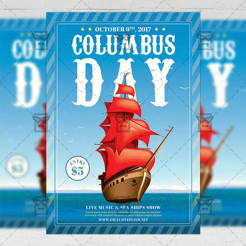 Seasonal A5 Flyer Template: Happy Columbus Day Celebration