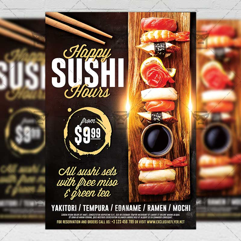 sushi happy hours  u2013 food a5 flyer template