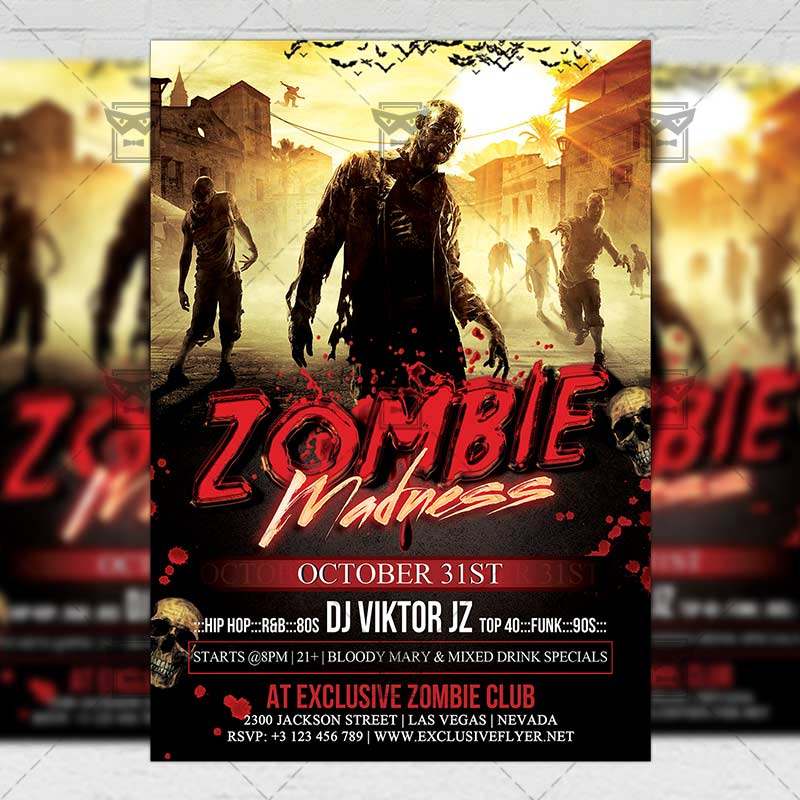 Zombie Madness  Seasonal A Flyer Template  Exclsiveflyer  Free