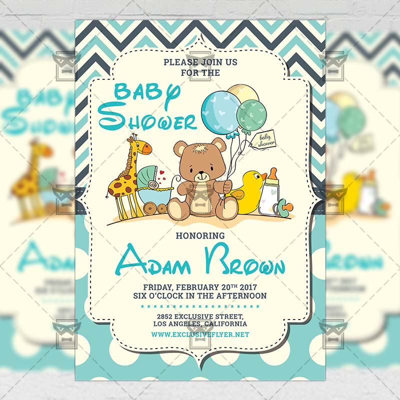 Baby Shower - Kids A5 Flyer Template ExclsiveFlyer Free And
