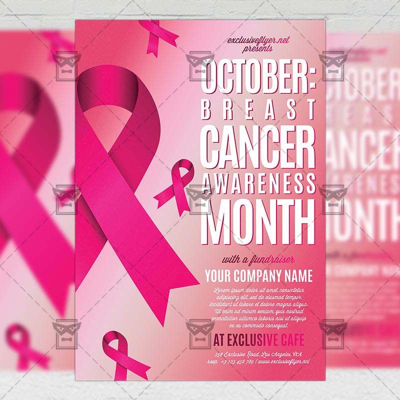 Breast Cancer Awareness Month Community A Flyer Template - Breast cancer brochure template