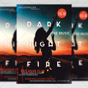 Dark Night Fire - Club A5 Flyer Template