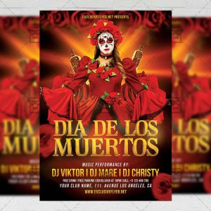 Dia De Los Muertos Celebration - Seasonal A5 Flyer Template