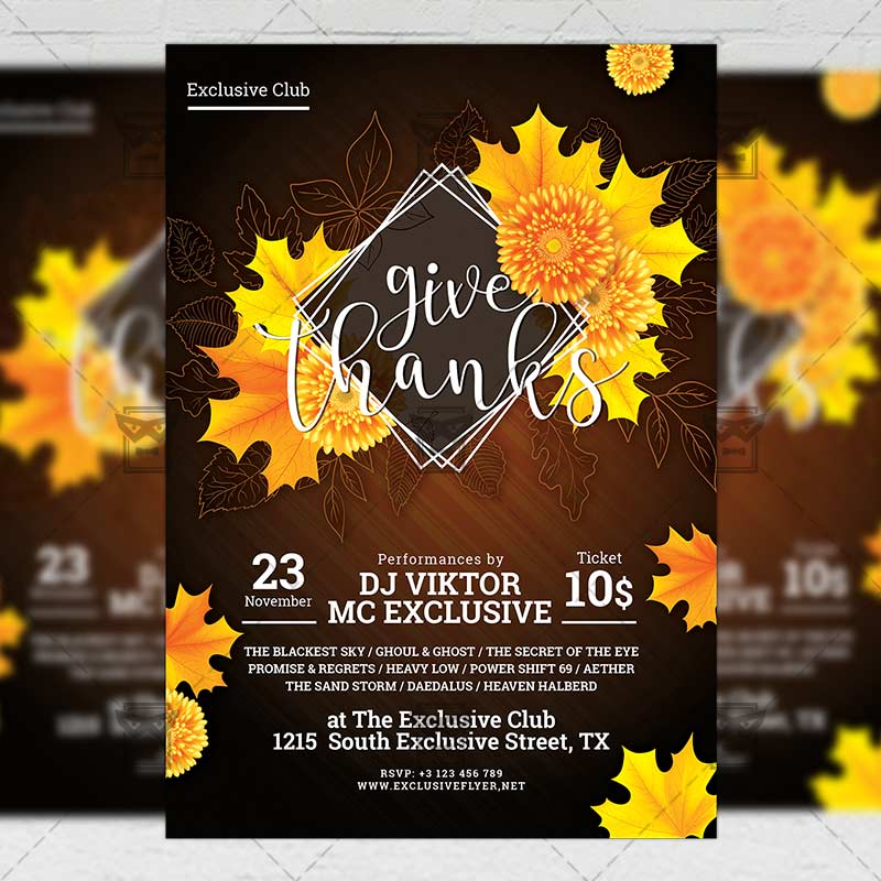 Give Thanks Night – Seasonal A5 Flyer Template | ExclsiveFlyer ...