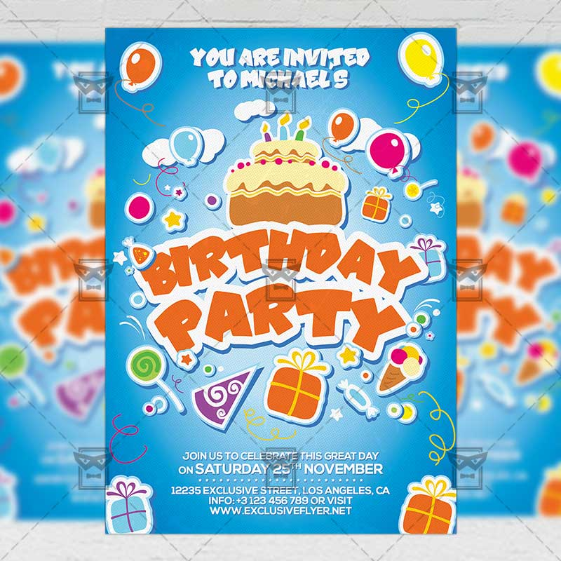 Kids Birthday Invitation Card A5 Psd Template Exclsiveflyer
