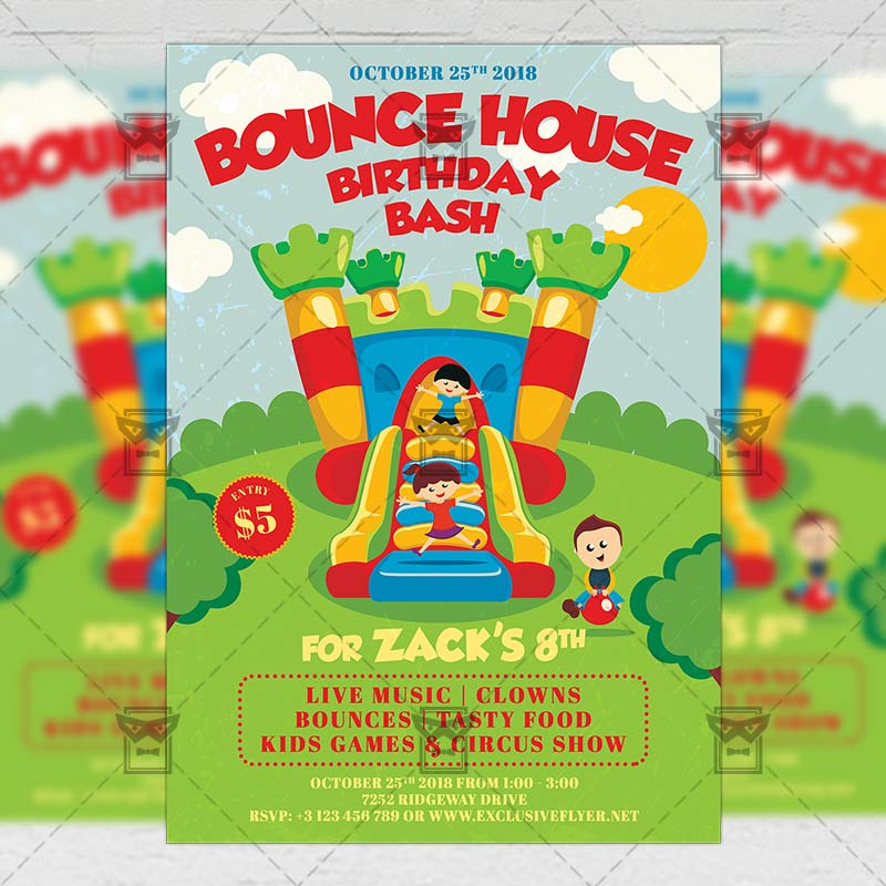 Kids Birthday Bash Invitation Card A5 Psd Template