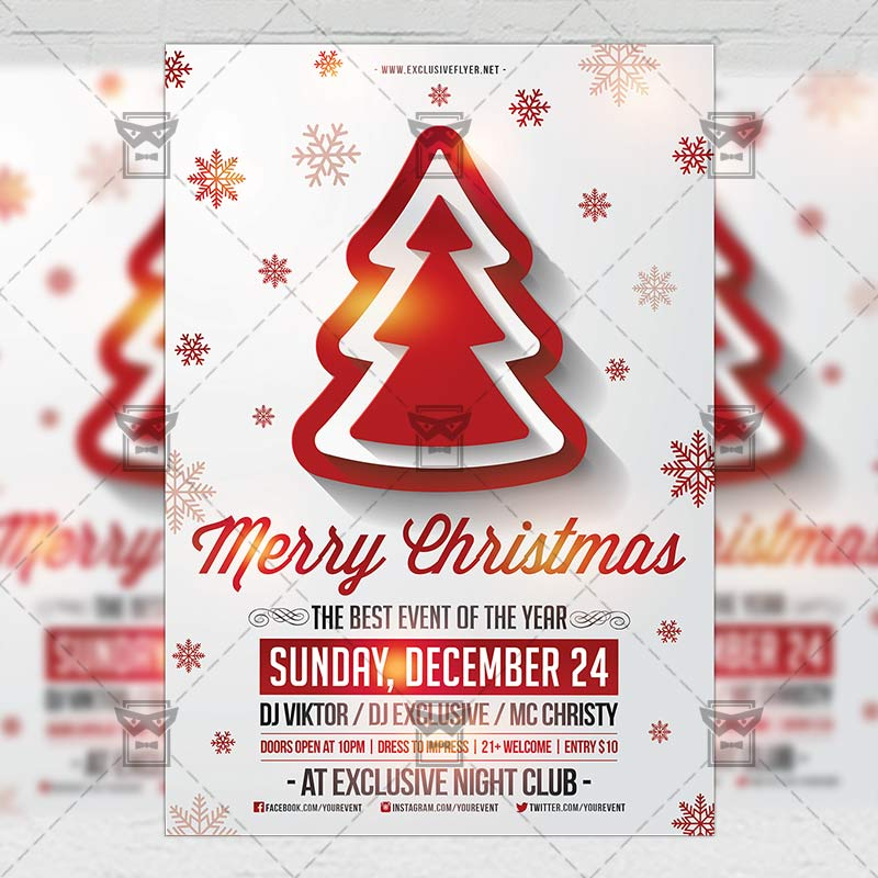 Merry Christmas Seasonal A5 Flyer Template Exclsiveflyer Free