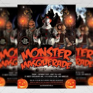 Download Monster Masquerade PSD Flyer Template Now