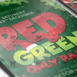 Download Red and Green Only Party PSD Flyer Template Now