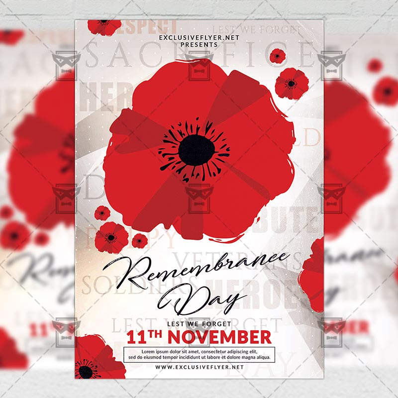 remembrance day seasonal a5 flyer template exclsiveflyer free