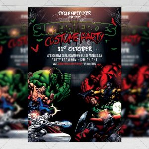 Superheroes Costume Party - Seasonal A5 Flyer Template