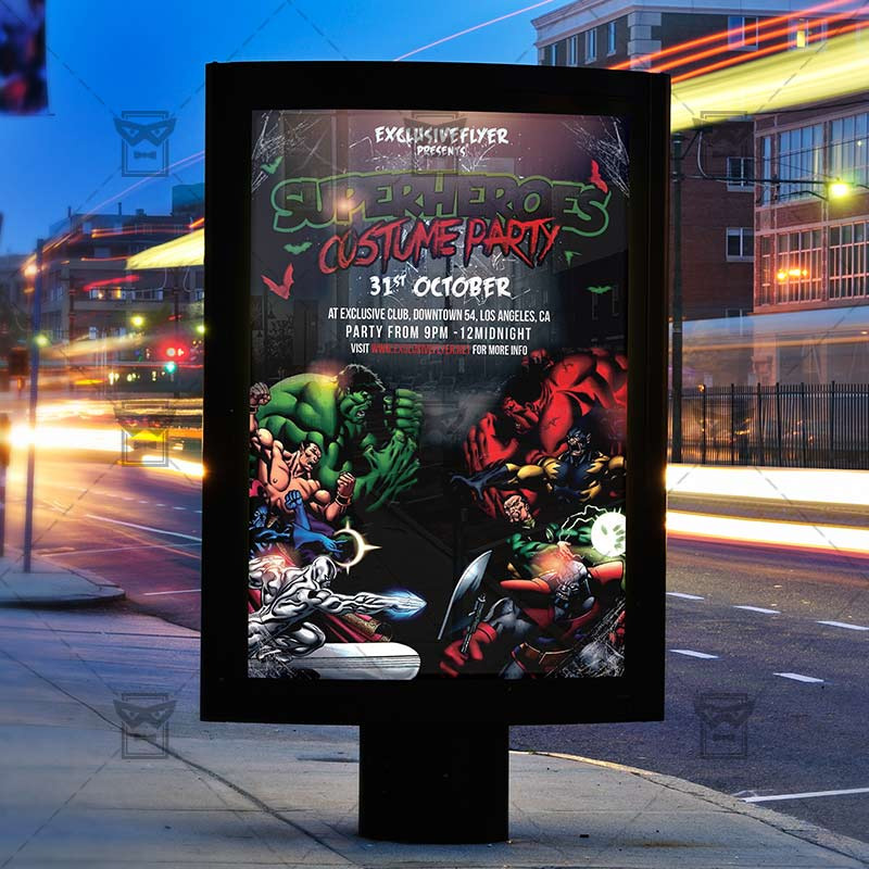 Superheroes Costume Party – Seasonal A5 Flyer Template ...