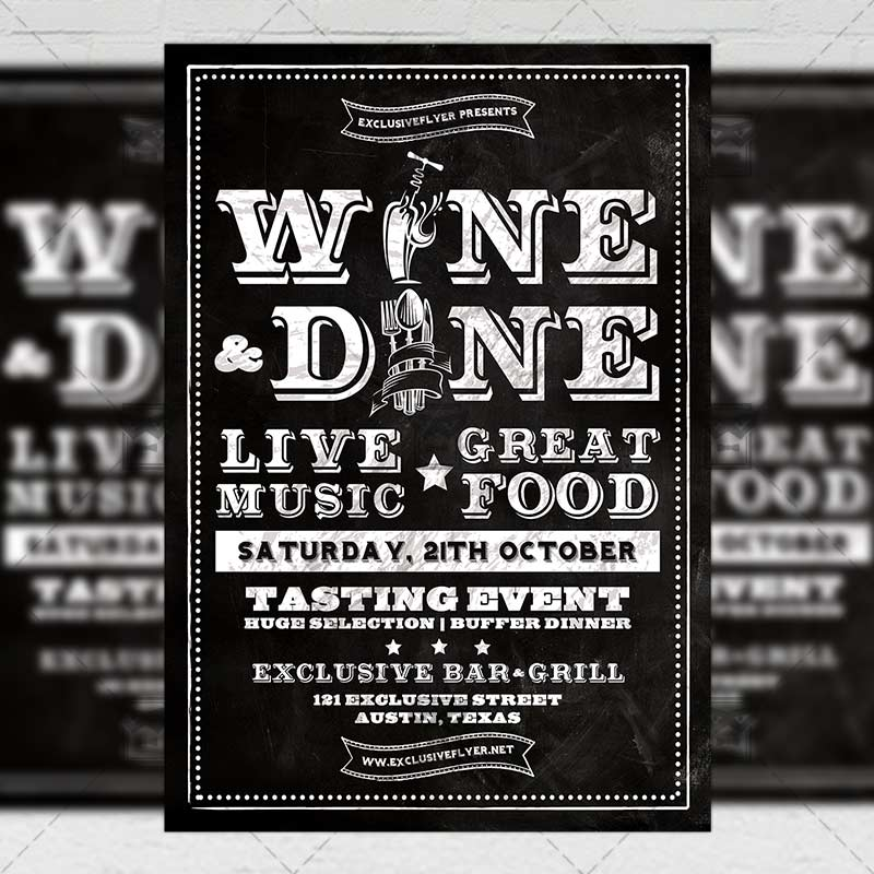 Wine And Dine Food A Flyer Template ExclsiveFlyer Free And - Wine tasting event flyer template free