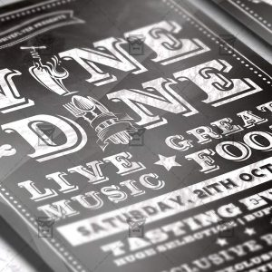 Wine and Dine - Food A5 Flyer Template