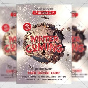 Winter Is Coming - Seasonal A5 Flyer Template