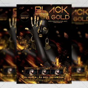 Download Black and Gold Night PSD Flyer Template Now