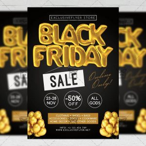 Download Black Friday Sale Free Seasonal A5 Flyer PSD Template Now