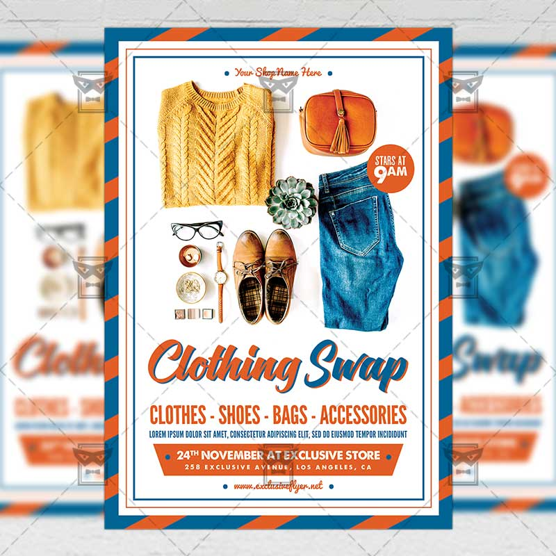 clothing swap � community a5 flyerposter template