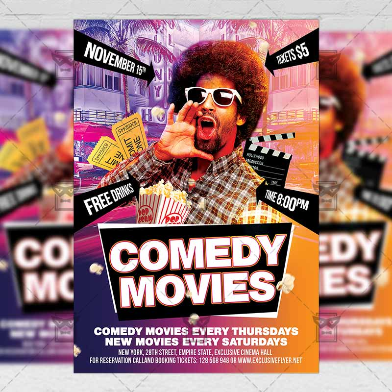 comedy movies � community a5 flyerposter template