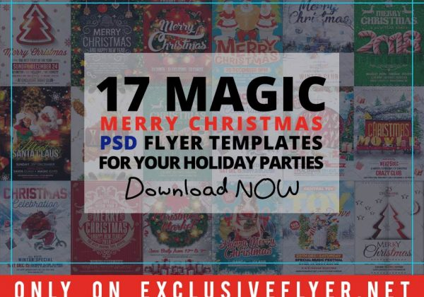Download Free 17 Magic Merry Christmas PSD Flyer Templates for Your Holiday Parties