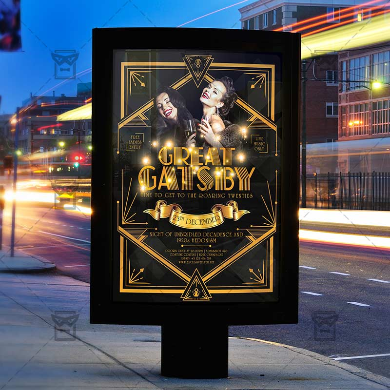 Great Gatsby Night Club A5 Flyer Template Exclsiveflyer Free And Premium Psd Templates