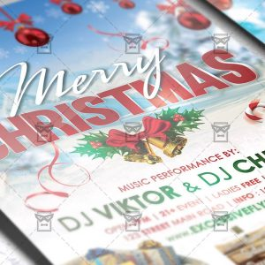 Download Happy Christmas Celebration Free Seasonal A5 Flyer PSD Template Now