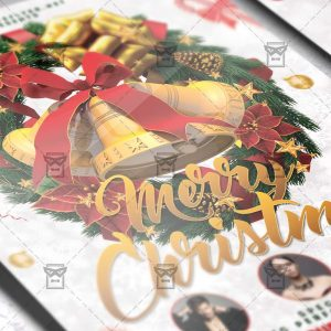 Download Merry Christmas Free Seasonal A5 Flyer PSD Template Now