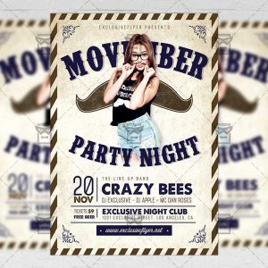 Download Movember Party PSD Flyer Template Now