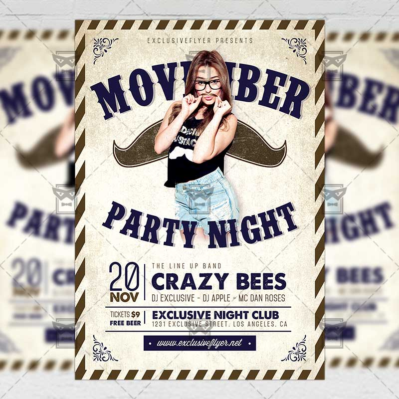 Movember Party Seasonal A5 Flyer Template Exclsiveflyer Free