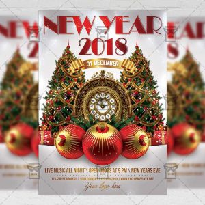 Download New Year 2018 PSD Flyer Template Now