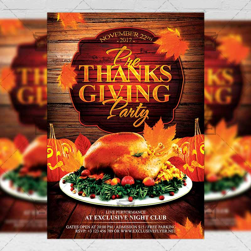 Pre Thanksgiving Party Psd Flyer Poster Template Now