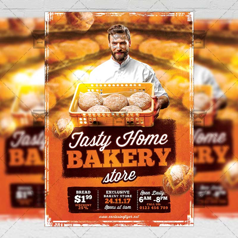 Tasty Home Bakery Food A5 Flyer Poster Template Exclsiveflyer