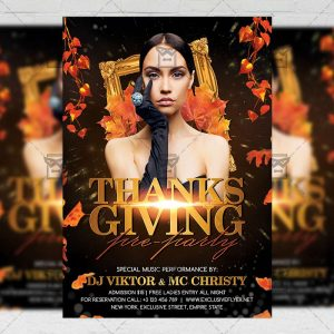 Download Thanksgiving Pre-party PSD Flyer Template Now