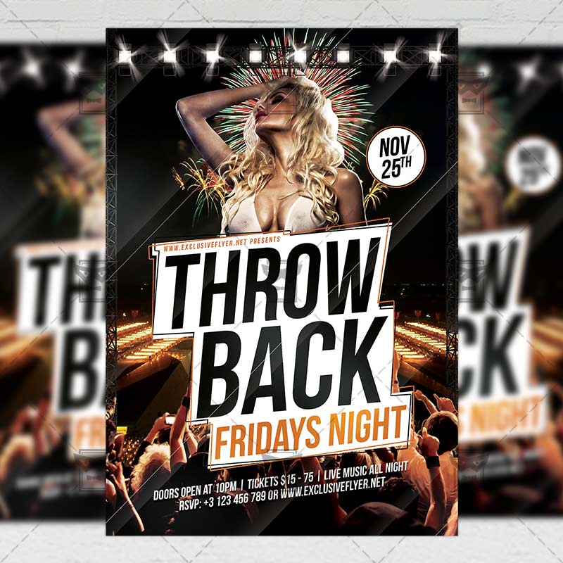 Throwback Fridays \u2013 Club A5 Flyer Template | ExclsiveFlyer | Free