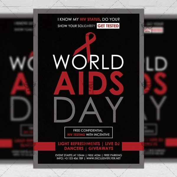 Download World Aids Day Free Seasonal A5 Flyer PSD Template Now